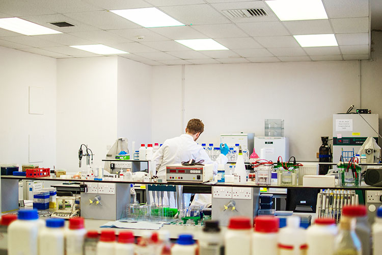 Laboratory space with lots of bottles and equipment